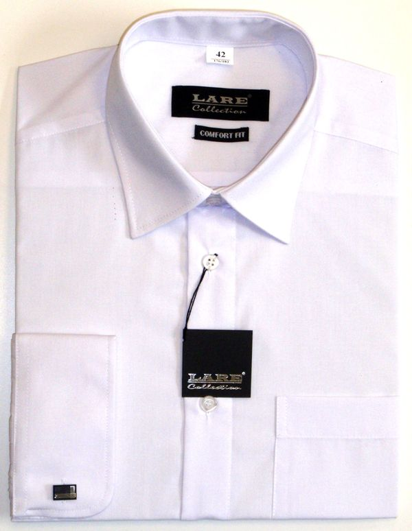 1b01c2e44fe Nadměrné pánské košile s DLOUHÝM rukávem-BARVA BÍLÁ - DVOJÍ ZAPÍNÁNÍ