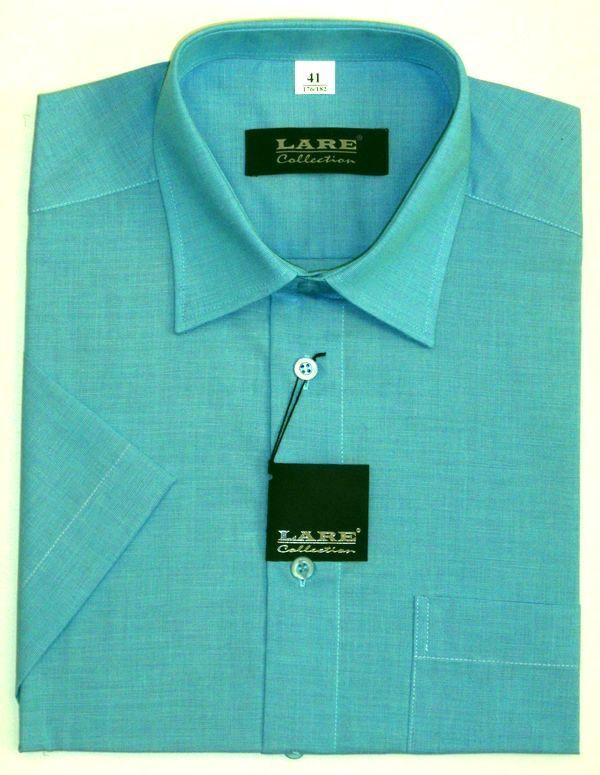 Jednobarevné pánské košile s KRÁTKÝM rukávem - COMFORT FIT BARVA A7 -  TYRKYSOVÁ 0792ab2623