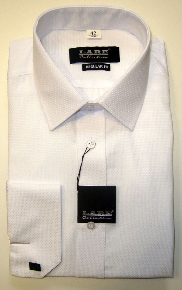Společenské pánské košile s dlouhým rukávem-LUCASS L94 - BÍLÁ S JEMNÝM  PUNTÍKEM 0ed7390d60